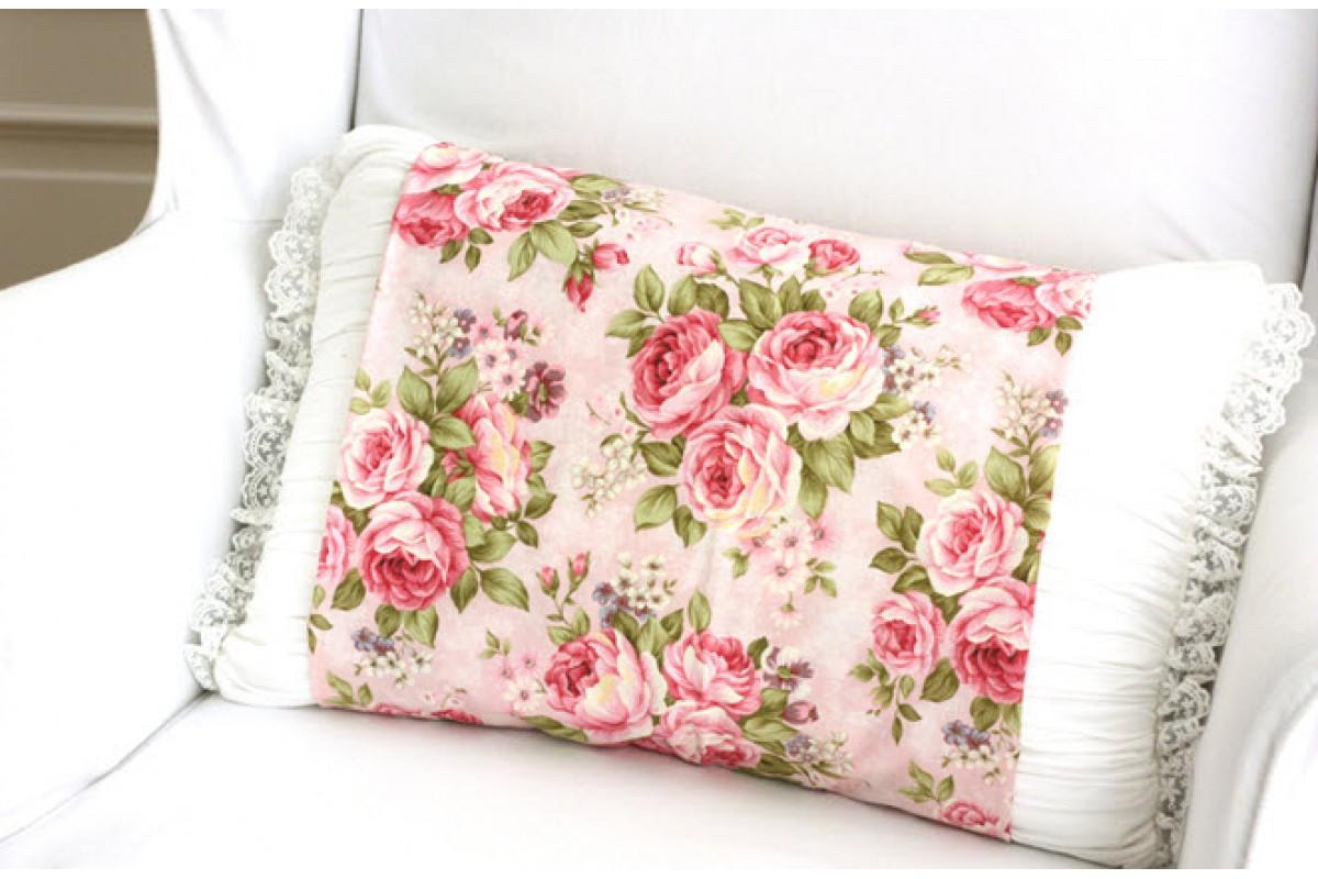 (118) Розы крупные 100% хлопок (розовый) (N1167)