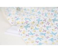 (3154) Цветы с птицами (светло синий)