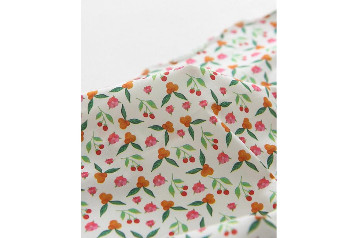 (3358) DTP Сад- оранжевые цветы (белый)