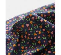 (3359) DTP Сад- оранжевые цветы (синий)