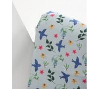 (3105) DTP Птицы и цветы на голубом
